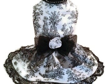 Handmade Couture Black and White Toile Dog Harness Dress and Fascinator Hat