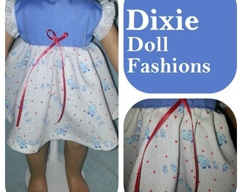 American Handcrafted 18 inch girl Doll Clothes by Dixie ! Blue Peeps Dress