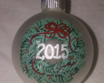 Ornament, Christmas Ornament, Wreath Ornament, Keepsake Ornament, Personalized Ornament, Hand Painted Ornament, Christmas Tree Ornament,2015