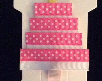 Pink and white sculptured birthday cake hair clip