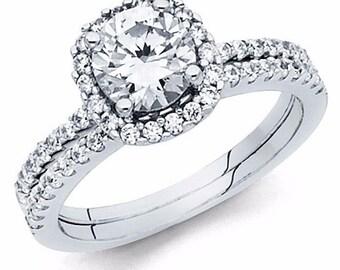 1.70 CT Round Cut Diamond Engagement Wedding Ring band set in Solid 14k White Gold Bridal Halo Ring Set, Wedding Band Round Side Stones CZ