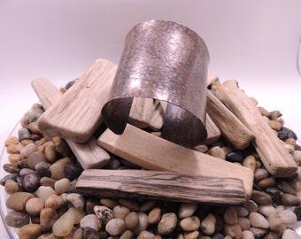 Wide Rustic Hammered Flared Copper Cuff Bracelet