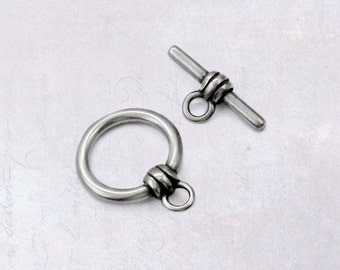 1 x Set 316L Stainless Steel Bar & Ring Toggle Clasp, Ridged Column - Surgical Grade