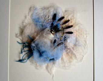 Felt art 'Blue bird'