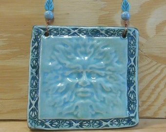 Greenman Tile Wall Plaque in Mint and Turquiose with Glass and Lucite Beads