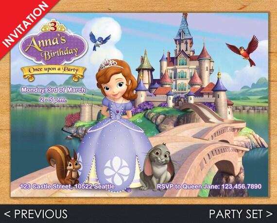 Sofia the First Invitation - Princess Sofia Birthday Invitation - Digital Disney Princess Invites and many more by Printadorable