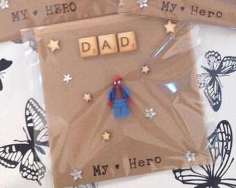 Dad birthday card, dad hero birthday card, dad fathers day card, dad hero card, daddy hero, dad my hero , dad minifigure card
