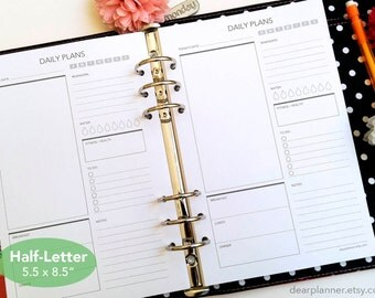 PRINTED day on one page - Daily planner insert - Printed do1p planner insert - Half letter A5 insert - Planner refill - 06H