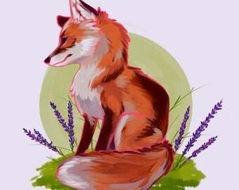 Lavender Fox Print