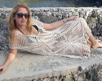 Vintage Boho Style Crochet Caftan Style  handmade 100% Organic Cotton, 3XL, Mid-Calf Beige Dress