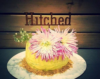 """Cake Topper """"Hitched"""""""