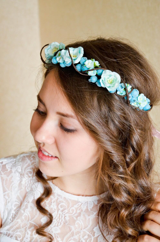 Bridal Crown Floral Crown Wedding Flower Crown Turquoise Flower