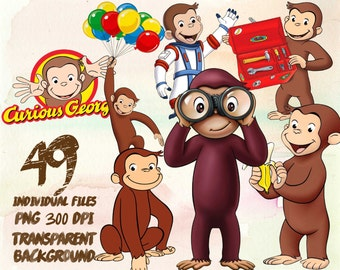 Curious George  Clipart -PNG -transparent-300dpi-party-printable