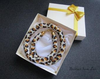 Like A Leopard Bead Crochet Necklace,leopard,animals,leopard necklace,animals beads,leopard beads,leopard handmade,animals handmade,nature