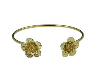 Flowers with cup rivoli 18ss/4 mm bangle with soldered bases 1 pcs