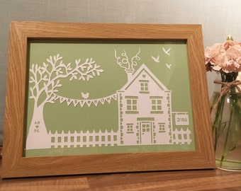 New Home Papercut - framed