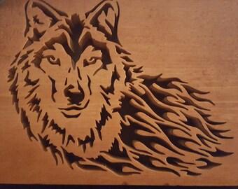 5x7 blazing wolf