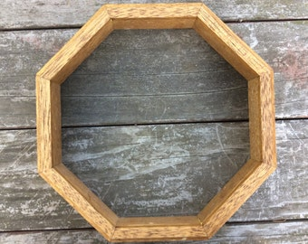 Octagon Wood Frame Shelf Vintage Rustic Repurpose Upcycle