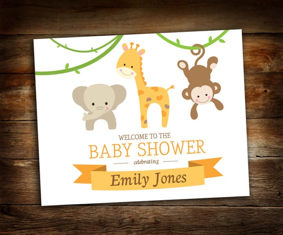 baby shower welcome sign jungle animals baby shower baby animal