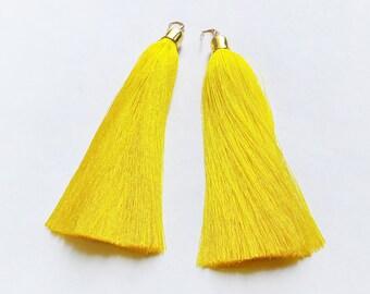 Long Yellow Tassel Earrings Shoulder Duster Earrings Gold Statement Bohemian Summer Party Jewelry