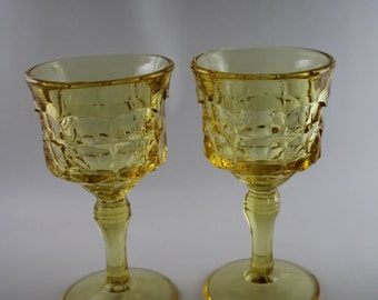 Vintage Yellow or Amber Glass Goblets