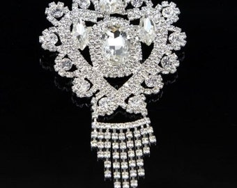 Wedding Brooch Pin Embellished with Crystal Rhinestones in a Silver Setting, Bridal Brooch Bouquet, Wedding Jewelry & Accessories TDK-W1054