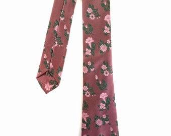 Vintage Dusky Pink Floral Skinny Tie