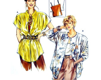 90's Burda 5077 Oversized Shirt with Shaped Hemline, Short or Long Sleeves & Camisole Top, Uncut, Factory Folded Sewing Pattern Size 12-24