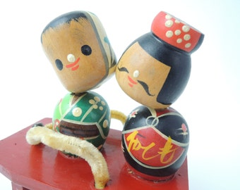 Vintage kokeshi doll RefA, Geta