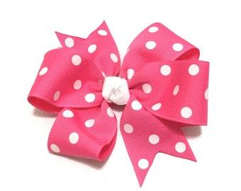 Candy pink polka dot hair bow - Girls hair bow - Polka dot bow - Valentine's Day - Girls hair accessories - Pink polka dot bow - Girls bows