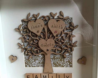 Family tree /handmade /scrabble art /gift