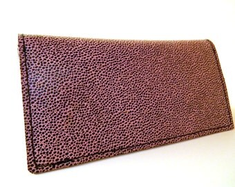 Leather Checkbook Cover 7 inches wide by 7 3/4 inches when open.