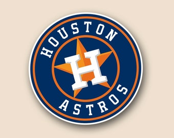 "HOUSTON ASTROS Set of 2 Vinyl Cornhole DECAL Logo Wall Sticker Car Truck 12"" Size"