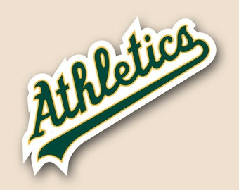 "OAKLAND ATHLETICS Set of 2 Vinyl Cornhole DECAL Logo Wall Sticker Car Truck 12"" Size"