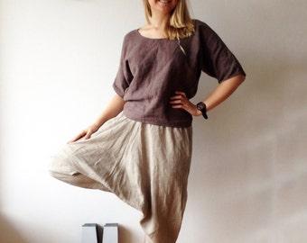 Natural Linen Harem Pants, Linen Yoga pants, Linen trousers, Baggy Pants, Women Pants, Linen Trousers for Women, natural linen aladdin pants