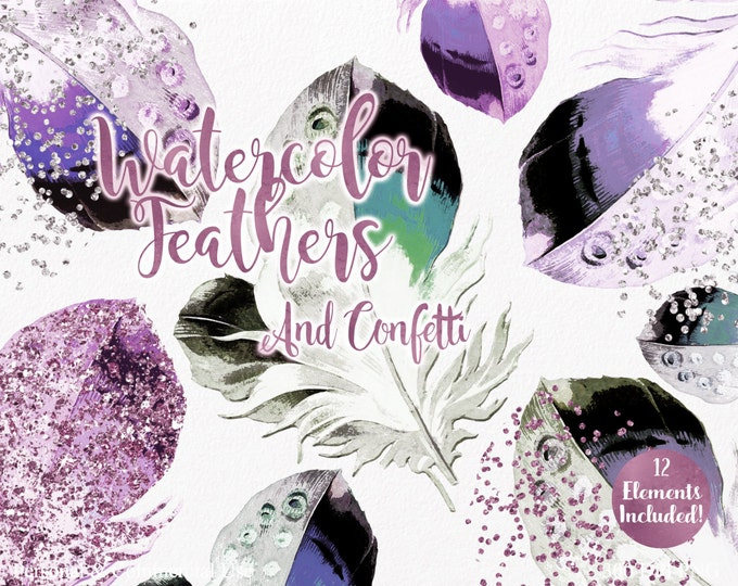 WATERCOLOR FEATHER Clipart Commercial Use Clipart Pink Purple Aqua Teal Feathers Rose Silver Confetti Tribal Watercolor Clip Art Graphics