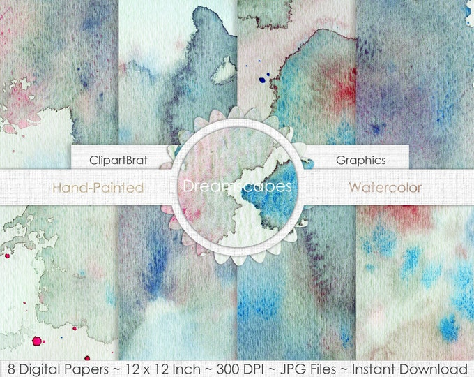 DREAMSCAPES TEAL WATERCOLOR Digital Paper Commercial Use Paper Pack Aqua Splatter Real Watercolor Textures Hand-Painted Digital Backgrounds