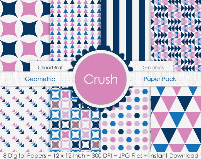 Crush BUBBLEGUM PINK & BLUE Digital Paper Pack Commercial Use Digital Background Paper Geometric Stripes Dots Arrows Triangles Digital Paper