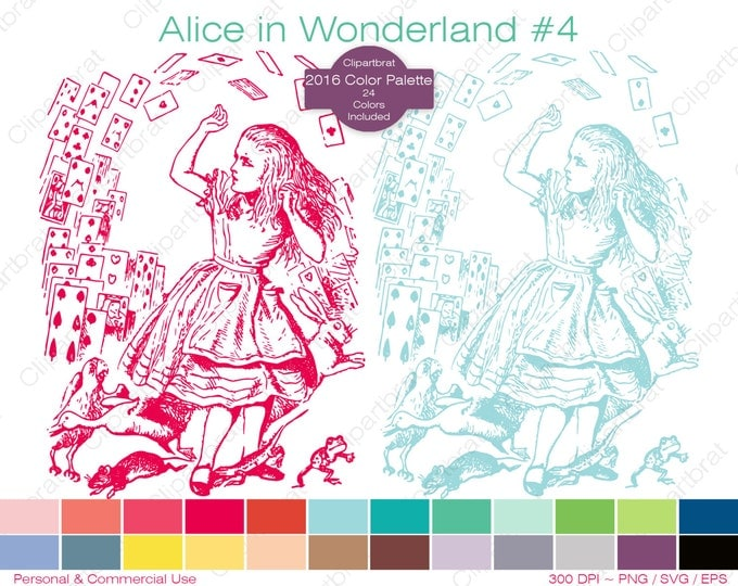 ALICE IN WONDERLAND Clipart Commercial Use Clipart Falling Card Graphic 2016 Color Palette John Tenniel Digital Sticker Vector Png Eps Svg