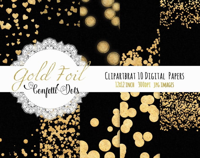 BLACK & GOLD CONFETTI Digital Paper Pack Commercial Use Digital Background Papers Black Metallic Gold Foil Dots Digital Paper Backgrounds