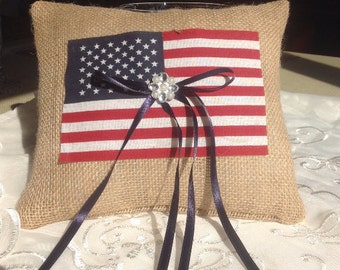 Patriotic flag and Burlap Ring Bearer pillow, Burlap pillow, Wedding Ring Pillow  Free shipping ----------