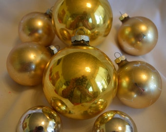 Shiny Brite Ornaments, Vintage Ornaments, Gold Shiny Brites, Made in USA