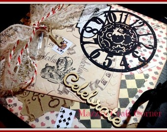 handmade Alice in Wonderland inspired wedding guest/party book