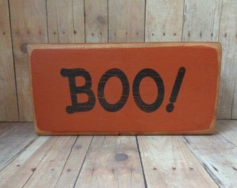 Halloween Distressed Boo Orange & Black Small Wood Shelf Sitter
