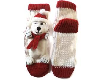 Handmade kids unique socks, socks with bear, socks with animal, 3D socks, house slippers, socks with attitude,play socks, white red socks