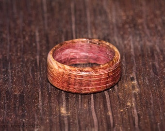 Wine Barrel Ring - Reclaimed Napa Valley Barrel Wood Ring - Custom Mens Womens Reclaimed Wedding Engagement Bands Multiple Size Oak  Purple