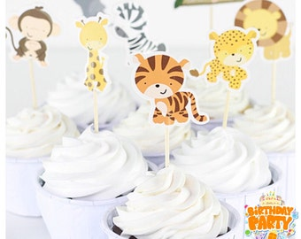 Zoo animals cupcakes toppers 8pcs, free shipping.