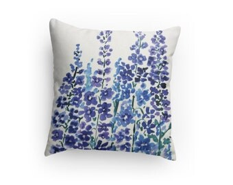 "Decorative Throw Pillow, Watercolor Design, ""Delphiniums"", Insert Included, Dorm Room , Bed Room"