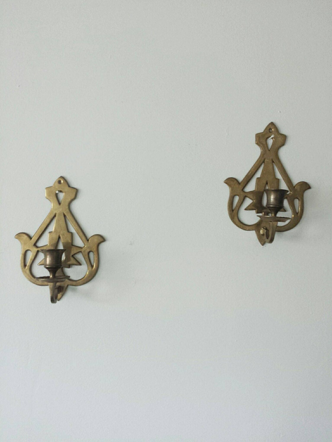 Brass Candle Sconce Pair Sconces Candle Sconce Vintage Wall