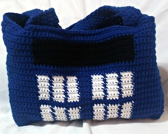 Crochet TARDIS Bag, TARDIS Handbag, TARDIS Purse, Crochet Doctor Who Bag, Dr Who Fashion